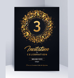 3 years anniversary invitation card template vector image