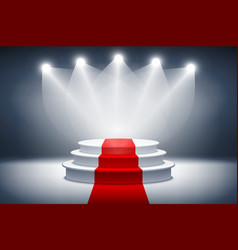 3d Illuminated stage podium with red carpet for vector image
