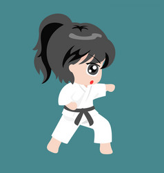 A girl play martial art karate vector