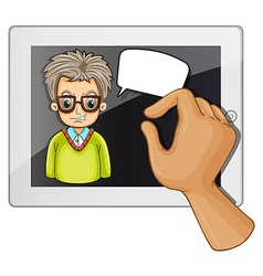 A man inside the gadget with a rectangular callout vector image