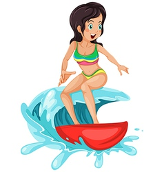 A young lady surfing vector image