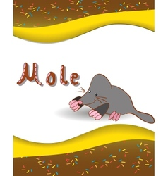 Alphabet letter M and mole vector
