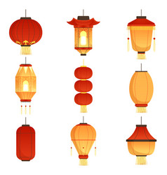 asian cartoon lanterns chinese and chinatown vector image