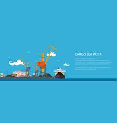 banner with cargo sea port vector image
