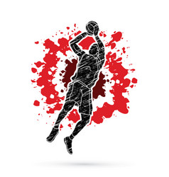 Basketball player jumping and prepare shooting vector