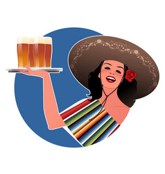Beautiful mexican girl with typical mexican hat vector