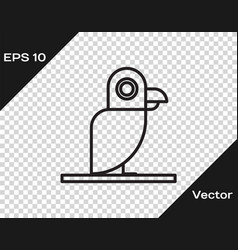 Black line pirate parrot icon isolated on vector