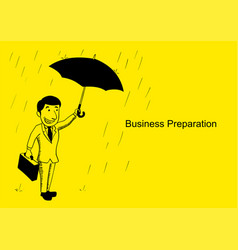 businessman standing with umbrella in rainy vector image
