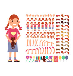 Cartoon cute little girl character vector