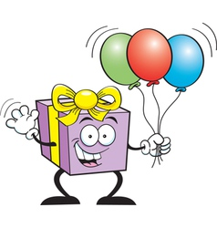 Cartoon Gift Holding Balloons vector image