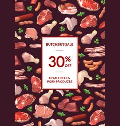 cartoon meat elements sale poster vector image