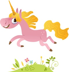 Cartoon pink unicorn vector