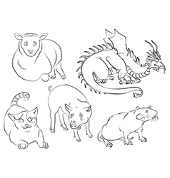 Cat dragon pig rat sheep vector