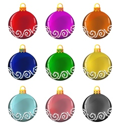 Christmas baubles set vector image