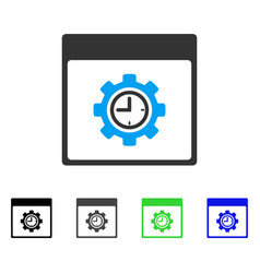 Clock configuration gear calendar page flat icon vector