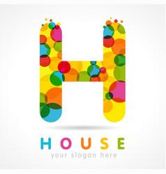 Colored h house logo concept vector