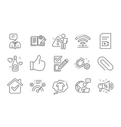Correct answer wifi and t-shirt icons set vector
