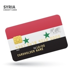 Credit card with Syria flag background for bank vector
