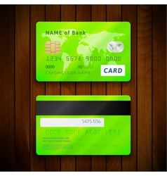 Detailed glossy green credit cards with two sides vector image