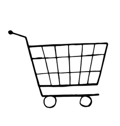 doodle drawing of shopping trolley vector image