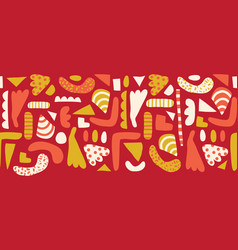 doodle shapes seamless horizontal border vector image