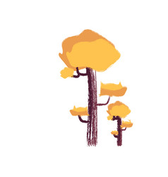 Drawing yellow trees or color vector