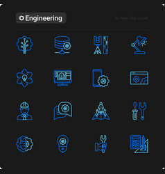 engineering thin line icons set vector image