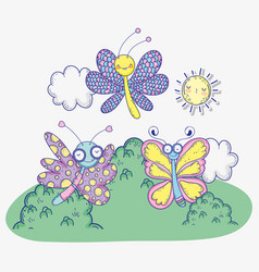 exotic butterflies insects with sun and clouds vector image