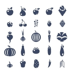 Farm fruits and vegetables flat silhouette vector