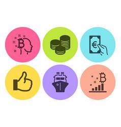 finance ship and tips icons set bitcoin think vector image
