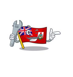 Flag bermuda mechanic cartoon on pole vector