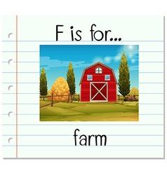 Flashcard alphabet F is for farm vector