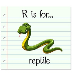 Flashcard letter R is for reptile vector