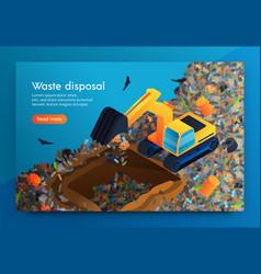 Flat landing waste disposal at huge garbage dump vector