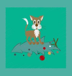 Flat shading style icon christmas tree cat vector