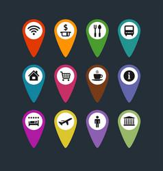 Flat travel symbols map pins set vector