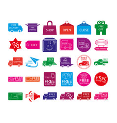 free shipping label icon set vector image