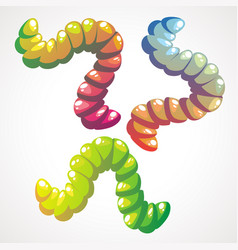 Funny cartoon set gummy jelly worms in vector