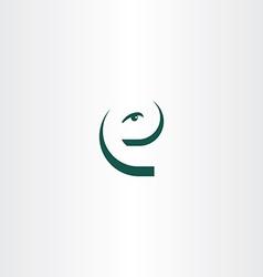 funny letter e eye face icon logo vector image