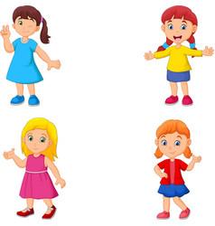 girl cartoon waving hand collection set vector image