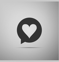 heart in speech bubble icon on grey background vector image