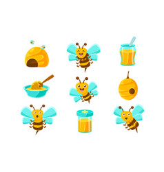 Honey bees beehives and jars with yellow natural vector