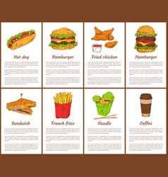 hot dog and hamburger set vector image