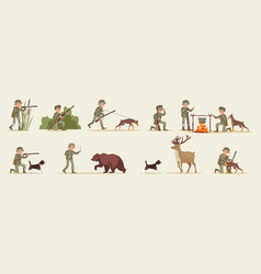 Hunting elements set vector