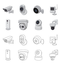 Isolated object cctv and camera symbol set of vector