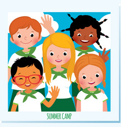 leader of a summer scout camp and a group of vector image