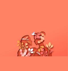lesbian women couple with papercut nature plant vector image
