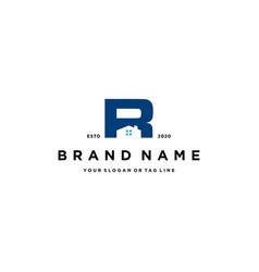 Letter r home logo design vector