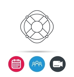 Lifebuoy with rope icon Lifebelt sign vector image
