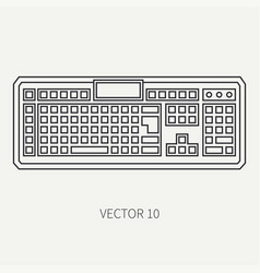 Line flat computer part icon keyboard vector